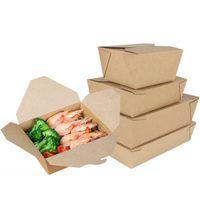 ECO-freundliche Lebensmittel Prep Container Box mit Deckel Brown-Papier Einweg Lunch Box Bento Box Microwavable Mahlzeit Prep Boxen Schule Essgeschirr