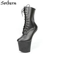 Sorbern 20см Копыто бескаблучные Ботильоны для женщин платформы обувь Cosplay Unisex дрэг-квин Booty Экстремальный Высокие каблуки Vamp Cos обувь Конструктор