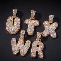 Hip Hop 18K Placcato in oro Placcato Gold Solid Letter Collana Catena Catena Micro Zircone Zircone Uomo Bling Gioielli regalo