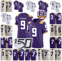 125TH LSU Tigers Football 9 Joe Burrow Jersey 7 Grant Delpit...
