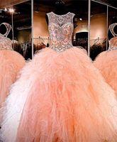 2019 glänzende Blush Pfirsich Quinceanera Kleider Ballkleid Perlen süß 16 Jahre Prom Party Kleid Vestidos DE 15 Anos qc1377