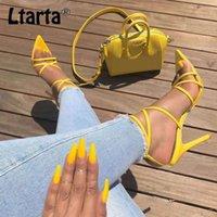 LTARTA amarillo atractivo sandalias sandalias de las señoras del verano nuevas en punta boca de los pescados de la Cruz de los estiletes agudo del punto del dedo del pie talones 11.5cm ZL-222-5 CX200616