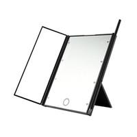 8 المصابيح ضوء ماكياج مرآة شاشة تعمل باللمس يشكلون 3 قابلة للطي المحمولة منضدية كونترتوب المكياج مرآة