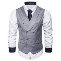 Modelleri sonbahar yeni erkek katı renk yelek iş rahat yelek İngiliz moda Sıcak Adam Yelek Ücretsiz Gemi Iş Parti Için Fit