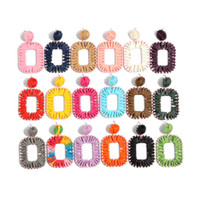18 color earrings Europe and America hand- woven colorful Laf...