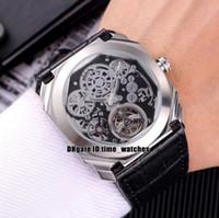 Новый OCTO Tourbillon 102719 BGO40PLTBXTSK Автоматическая Мужские часы серебристый корпус черный кожаный ремешок 42мм Полые набора Мужская уборная популярные спортивные часы
