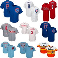 Chicago Mens Cubs 17 Kris Bryant 44 Anthony Rizzo 9 Javier Baez Jerseys 27 Jose Altuve 99 Aaron Judge Blue Cool Baseball Jersey