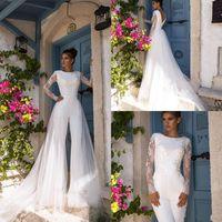 겸손 2020 새로운 긴 소매 jumpsuits 탈착식 기차와 웨딩 드레스 Vestido de Noiva Boho 레이스 웨딩 드레스 신부 가운