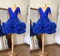 2021 Amazing Royal Blue Real Photo Short Homecoming Prom Dress Abito da ballo Abito V Neck maniche lunghe in pizzo Applique Party Graduation Cocktail Dress