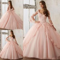 Elegant Baby Pink Long Sleeve Prom Dresses 2019 Puffy Prince...