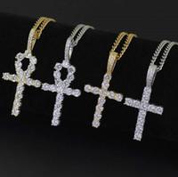 hip hop diamantes colares cruz pendente para homens, mulheres, Cristianismo de luxo colar de jóias de ouro cadeia cubana zircões de cobre banhados