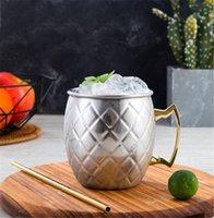 النحاس القدح الفولاذ المقاوم للصدأ كأس البيرة موسكو البغل القدح وردة نوع ذهب مطروق النحاس مطلي DRINKWARE AFJ464