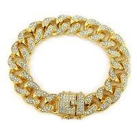 Cadeia Mens Iced Out Moda pulseiras de alta qualidade ouro cubana Fazer a ligação Miami Pulseira Hip Hop Jewelry
