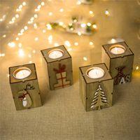 شمعدان عيد الميلاد الديكور هدايا عيد الميلاد الإبداعية الديكور البسيطة خشبية شمعدان ديكور المنزل شجرة عيد الميلاد الأيائل هدية مربع إلكتروني