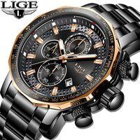 Relogio Masculino LIGE New Sport Chronograph Montres Hommes Top Marque de luxe pleine acier Quartz Horloge Big Waterproof Montre à cadran hommes CJ191213