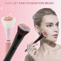 Uña de gato en forma multifuncional Gradiente colorido maquillaje cepillo de base Corrector Blush brocha para polvos de maquillaje herramienta de belleza