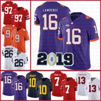 كليمسون النمور الأمريكية لكرة القدم جيرسي 16 تريفور لورانس 9 ترافيس إيتيان جونيور الرياضة الرياضية NCAA الفانيلة 7 Dwayne Haskins JR Tom Brady