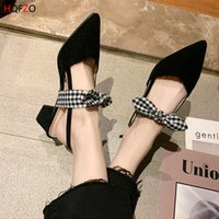 wholesale Flock Sandalet Bowknot Chunky Block Heels Pointed ...