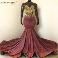 Parti Elbiseler Afrika Siyah Kızlar Mermaid Balo Kadınlar için 2021 Gerçek Manken Parlak Gala Etkinlik Uzun Ünlü Saçak Night Abiye
