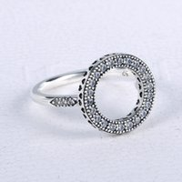 925 Оригинальные серебряные кольца серебряные сердца Сердца Свадебный кристалл с Европой Кольцо Pandora Женщины для Halo Party Дар модных ювелирных изделий RNTEB