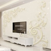Flower Pattern Relief 3D Estilo Europeu Wallpaper Sala TV Sofa Bedroom Home Decor Mural Papel De Parede 3D Fresco