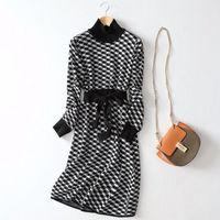 GIGOGOU Luxury жаккарда Knit Long Maxi платье женщин зима линия свитер платье водолазку толстый теплый Рождественский вечер Midi платье T200106