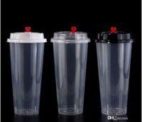 를 700ml / 24온스 콜드 핫 뚜껑 주스 컵 커피 밀키 차 컵 두꺼워 일회용 투명 플라스틱 음료 컵 음료