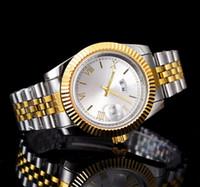 Diş yüzük 40mm gün tarihi lüks saatler yeni lüks moda marka erkekler ve kadınlar tarihi erkekler için yeni çelik saat kuvars saatler