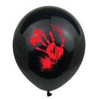 Cadılar Bayramı Balon baskı kabak kan el izi lateks balon 12 inç 2.8g baskı balon parti dekorasyon