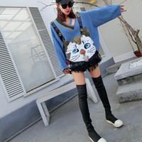 Cartoon-Katze Quaste Pullover Frauen lösen Pailletten Strickpullover mit V-Ausschnitt Frühling beiläufige Strick Tops Femme Jumper