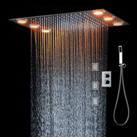 LED Multi-functional Lights Thermostatic Shower Set Controller Touch Control Panel Modern European Style Rainfall Bathroom Ceiling