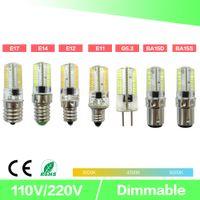 디 밍 LED 미니 전구 크리스탈 투명 실리콘 옥수수 빛 3014 SMD 80 LED AC220V / AC110V 샹들리에 크리스탈 빛 E14 G9 G4
