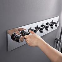 Big água 4/5/6 Funções Duche mistura válvulas termostáticas Faucet Fluxo torneira do chuveiro latão cromado Chuveiro Controlador