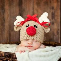 Pudcoco Noel Yenidoğan Bebek Erkek Kız Cap Fotoğrafçılık Dikmeler ilmek Hat İçin Tığ Örgü Noel Geyik Bebek Şapka