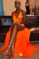 2020 Ny sexig split sida prom klänningar v nacke en linje ruched backless afrikansk aftonklänning billig brudtärna klänning bc3590