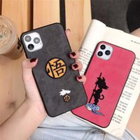 Art Nouveau Bordado iPhone 11 11Pro Max X iPhone XR XS 7 8 7 8plus Anime japonês Designer Mobile Shell tampa traseira Dragon Ball
