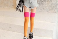 Fashionable and casual Over- the- knee socks women' s cott...