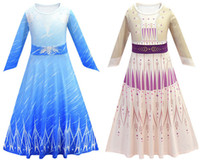 Princess Dress For Girl Manica lunga Snowflake Sash Snow Queen 2 Cosplay Costume Fancy Costume Halloween Pageant Party Vestiti per bambini Abbigliamento 2 colori