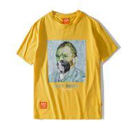 Marka Erkek Komik Sigara Van Gogh Baskılı Pamuk T Shirt Tasarımcı Kısa Kollu Boy Hip Hop Rahat Erkek Arkadaşı TShirt Tee NR05