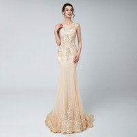 Champagne Sexy Elegant Mermaid Prom Dress Modest Special Occ...