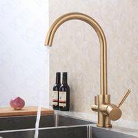 ROLYA brossé d'or 3 Way Filtre à eau robinet d'or bruni RO eau robinet de cuisine des trois flux d'évier de cuisine Mélangeur