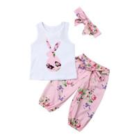 Bebek Kız bebekler Çiçek Kıyafet Giyim Baskılı t gömlek + Tozluklar Pantolon + Saç Bandı Seti 0-2 Yıl