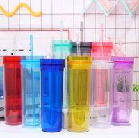 16oz akrilik sıska tumbler saman ile 480 ml çift duvarlı plastik kahve kupalar temizle renkli su şişeleri seyahat düz fincan