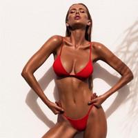 9 Renkler Katı Bikini Seti 2019 Seksi Push Up Mayo Kadınlar Brezilyalı Mayo Düşük Bel biquini Halter İki adet Mayo