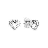 2019 Nova chegada atado coração brincos Original Box para Pandora 925 Sterling Silver CZ Brinco de Diamante Mulheres Meninas do presente Jóias