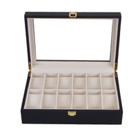 12 Grids Balck Wooden Watch Box Storage Organizer Case Saat ...