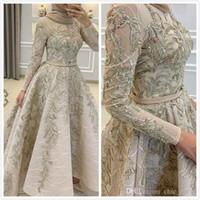 2020 Aso Ebi Arapça Müslüman Boncuklu Dantel Abiye Uzun Kollu A-line Gelinlik Vintage Örgün Parti İkinci Resepsiyon Abiye Elbiseler