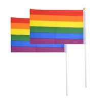 Regenbogen Gay Flaggen Stolz Stick Flagge 20*30 cm Hand Mini Flagge Winken Flaggen Haltegriff Mit mit Gold Top