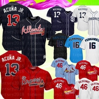 Atlanta Ronald Acuña Jr. Braves Maillot Rouge Bleu foncé Majestic Scarlet 2019 Suppléant Cool Base Player Maillots Baseball Broderies