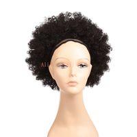 10 polegada ombre afro Curto Cabelo Sintético Encaracolado Chignon Pães Para As Mulheres de Casamento Penteados Updo Rabo De Cavalo